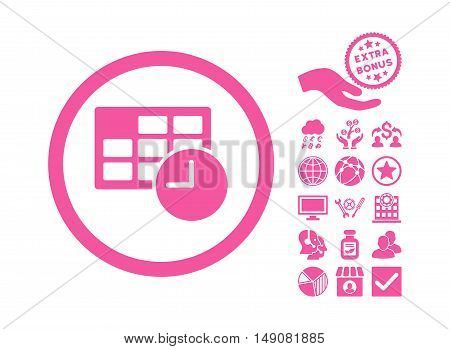 Date and Time pictograph with bonus design elements. Vector illustration style is flat iconic symbols pink color white background.
