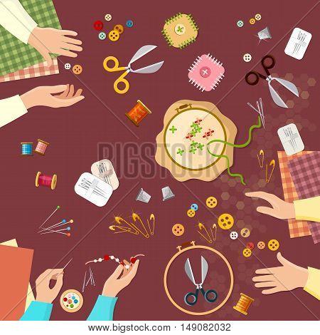 Tailor seamstress fashion designer needlework lessons team hands vector illustration