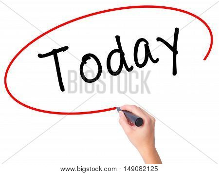 Women Hand Writing Today With Black Marker On Visual Screen