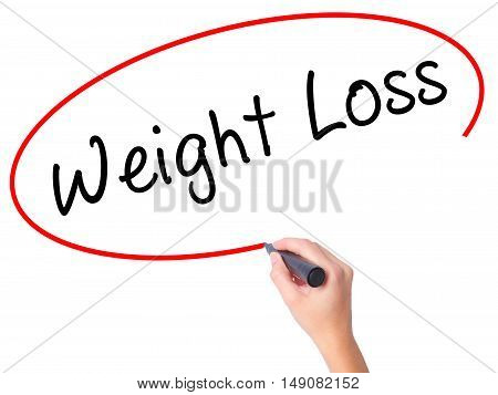 Women Hand Writing Weight Loss With Black Marker On Visual Screen