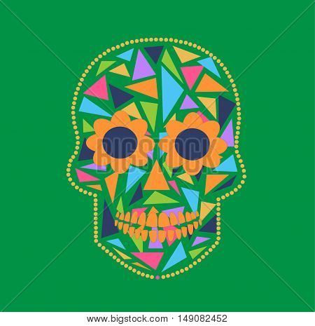 Skull vector background triangle orange and green color