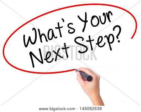 Women Hand Writing What's Your Next Step? With Black Marker On Visual Screen