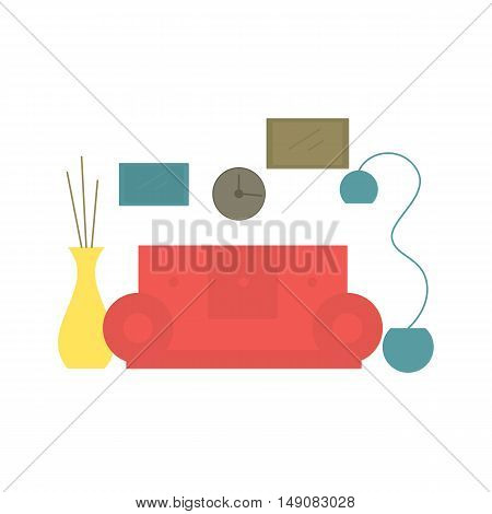 Interior design living room in the house or hotel. Lounge in the flat style. Vector illustration.
