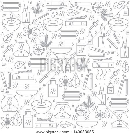 Aromatherapy. Background with icons for aromatherapy and relaxation. Pattern for design. Vector illustration.