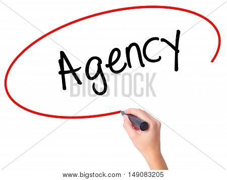 Women Hand Writing Agency With Black Marker On Visual Screen