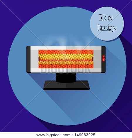 Infrared electric heater. Design icons in flat style. Vector illustration.