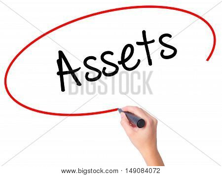 Women Hand Writing Assets With Black Marker On Visual Screen