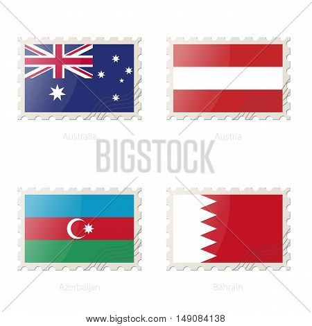 Postage Stamp With The Image Of Australia, Austria, Azerbaijan, Bahrain Flag.