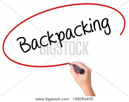 Women Hand Writing Backpacking  With Black Marker On Visual Screen