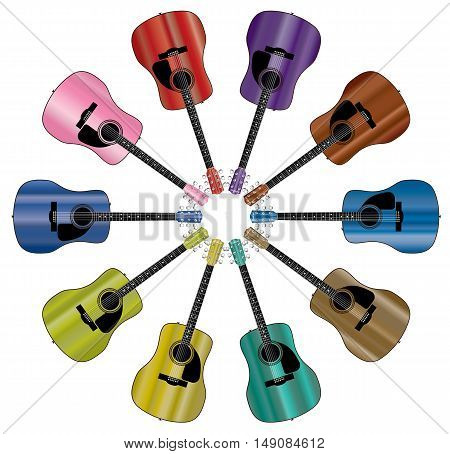 A circle of acoustic guitars isolated over a white background.
