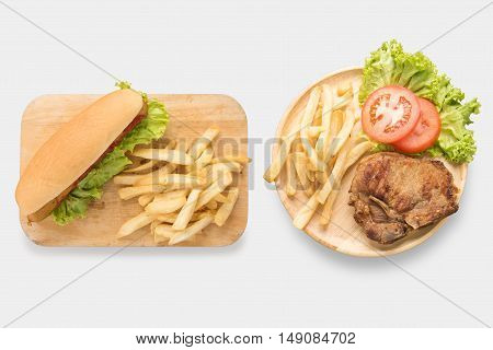 Mock Up Of Hot Dogs And Grilled Pork Chop Steak Set Isolated On White Background. Clipping Path Incl