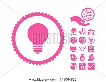 Electric Bulb icon with bonus clip art. Vector illustration style is flat iconic symbols pink color white background.