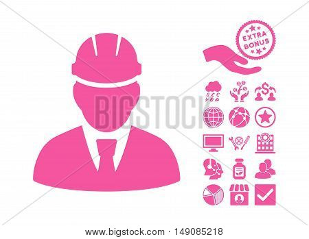 Engineer pictograph with bonus pictures. Vector illustration style is flat iconic symbols pink color white background.