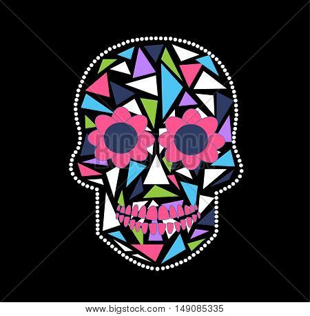 Skull vector background triangle black and pink color
