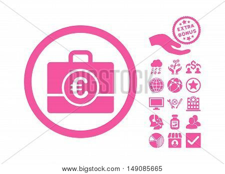 Euro Accounting Case pictograph with bonus pictogram. Vector illustration style is flat iconic symbols pink color white background.