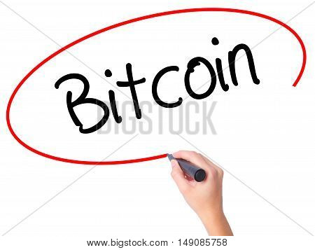 Women Hand Writing Bitcoin With Black Marker On Visual Screen.