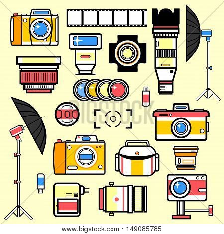 Set of equipment for photo studio. Collection vector illustrations: digital camera and lens, flash and tripod, light and umbrella, memory card. Technology symbols. Vector isolated illustration