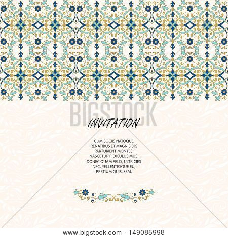 Floral  border and classic seamless pattern. Template for greeting cards, invitations, menus, labels. Vector decorative frame. Elegant element for design template, place for text.