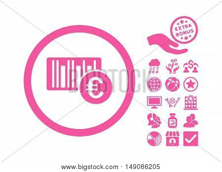 Euro Barcode pictograph with bonus clip art. Vector illustration style is flat iconic symbols pink color white background.