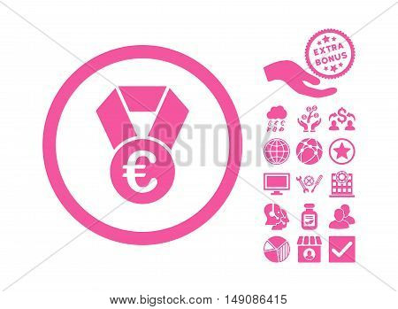 Euro Champion Medal pictograph with bonus symbols. Vector illustration style is flat iconic symbols pink color white background.