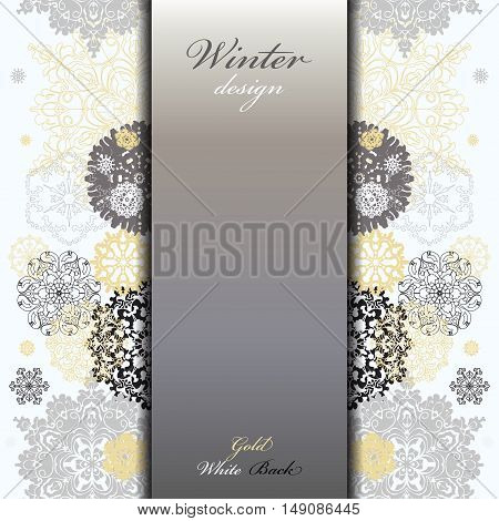 Winter abstract design with gold and white snowflakes and stars and silver background. Silver golden design. Vertical center border stripe and text place. Silver vintage vector illustration.