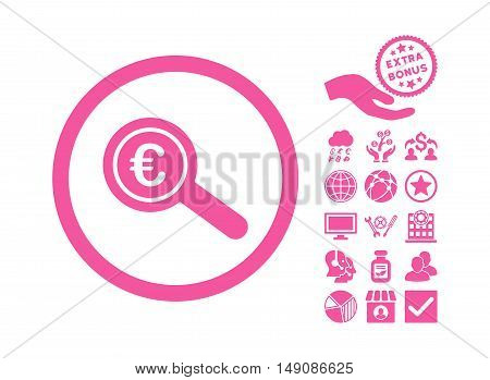 Euro Financial Audit pictograph with bonus icon set. Vector illustration style is flat iconic symbols pink color white background.