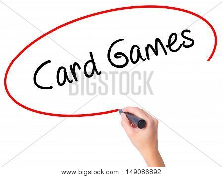 Women Hand Writing Card Games With Black Marker On Visual Screen