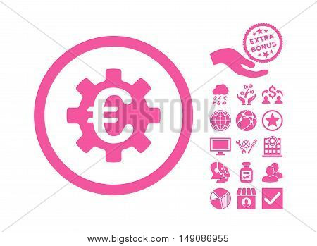 Euro Machinery icon with bonus pictures. Vector illustration style is flat iconic symbols pink color white background.