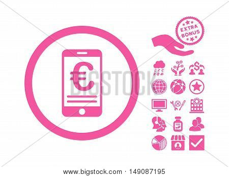 Euro Mobile Bank Account icon with bonus pictogram. Vector illustration style is flat iconic symbols pink color white background.
