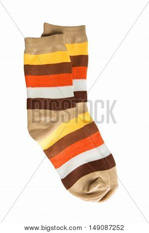 Two striped sock in yellow orange white red-haired brown stripes. 5 colors. isolated