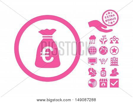 Euro Money Bag icon with bonus design elements. Vector illustration style is flat iconic symbols pink color white background.