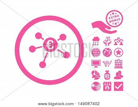 Euro Payments icon with bonus pictures. Vector illustration style is flat iconic symbols pink color white background.