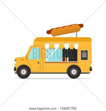 Hot Dog Van. Fast Food Transport. Vector illustration