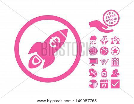 Euro Rocket Startup pictograph with bonus images. Vector illustration style is flat iconic symbols pink color white background.