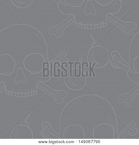 Seamless pattern with contour skulls and bombs on gray background vector illustration