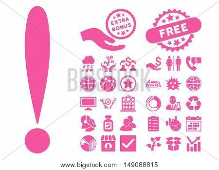 Exclamation Sign icon with bonus icon set. Vector illustration style is flat iconic symbols pink color white background.