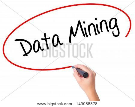 Women Hand Writing  Data Mining With Black Marker On Visual Screen