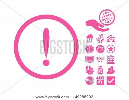 Exclamation Sign pictograph with bonus pictograph collection. Vector illustration style is flat iconic symbols pink color white background.