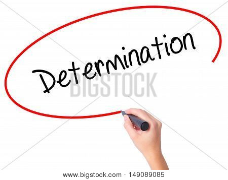 Women Hand Writing Determination  With Black Marker On Visual Screen