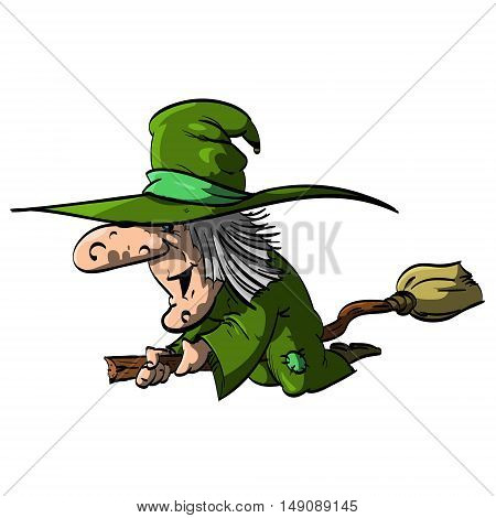Vector illustration of a Befana or a Witch flying on a broomstick with green clothes / robe