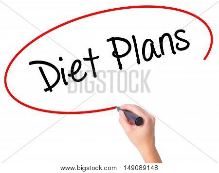Women Hand Writing  Diet Plans  With Black Marker On Visual Screen