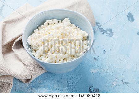 Curd cheese. Dairy products on stone table.