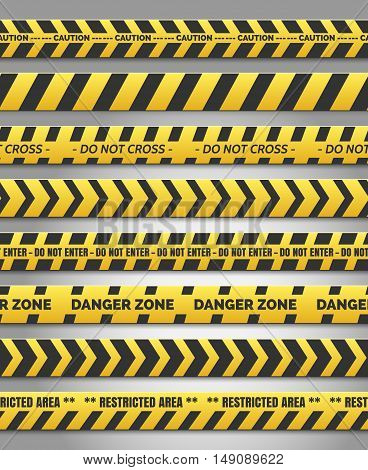 Caution tape set. Vector yellow plastic warning caution tapes for accident scene