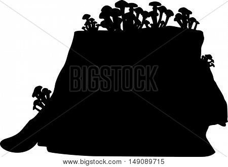 illustration with mushrooms on a stub silhouettes isolated on white background