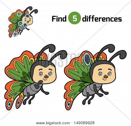 Find differences, education game for children, Butterfly