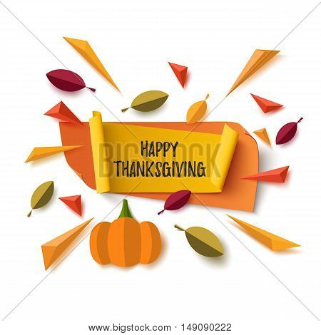 Happy Thanksgiving banner with abstract pumpkin, leafs and colorful particles isolated on white background. Vector illustration.