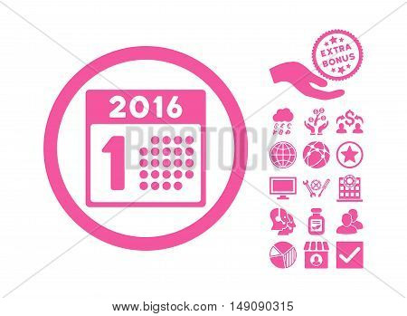 First 2016 Day pictograph with bonus symbols. Vector illustration style is flat iconic symbols pink color white background.
