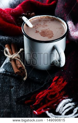 Cocoa Drink In Cup And Red Blanket.