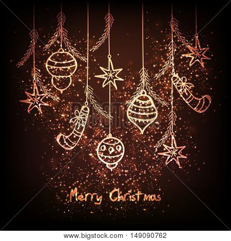 Merry Christmas related hanging elements on shiny background.