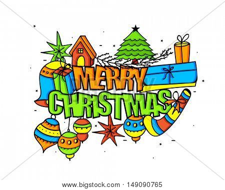 Colorful xmas ornaments on white background for Merry Christmas celebration.